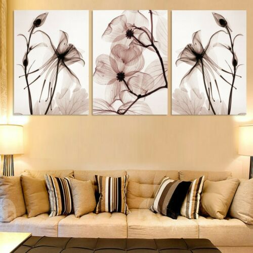 Vintage Digital Flower 3 Pieces Canvas Home Decor Wall Poster Painting Picture