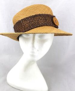BIGALLI-Tan-Straw-Woven-Button-Rope-Net-Trim-Sun-Panama-Ranch-Hat-New