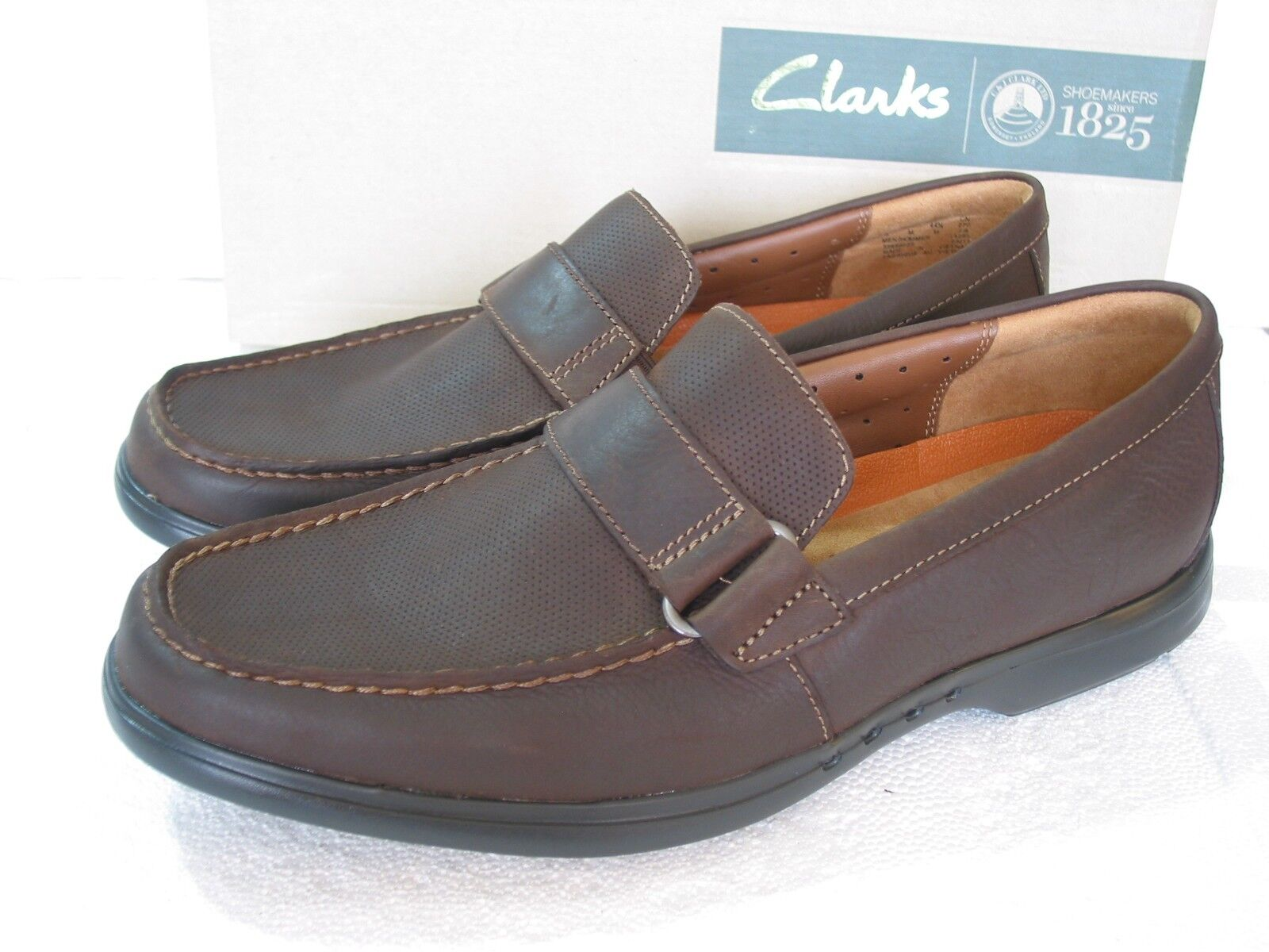 NEW CLARKS UN STRUCTURED UN EASLEY BROWN LEATHER SHOES VARIOUS SIZES