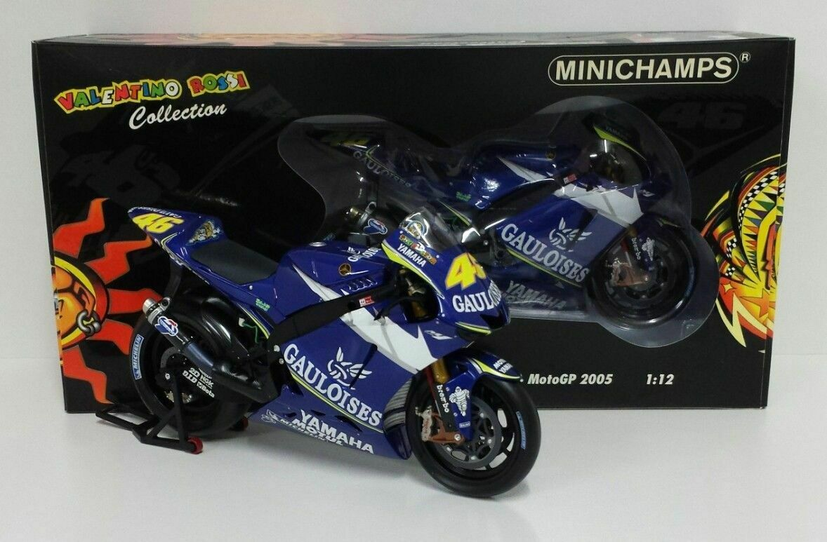 MINICHAMPS VALENTINO ROSSI 1 12 MODEL YAMAHA BIKE 2005 DECAL GAULOISES RARE