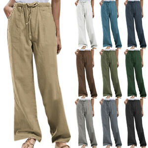 Womens Casual Cotton Linen Drawstring Harem Pants Summer Holiday Trousers New