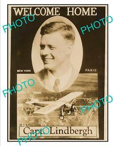 OLD-POSTCARD-SIZE-AVIATION-POSTER-CHARLES-LINDBERGH-RECORD-FLIGHT-1927-2