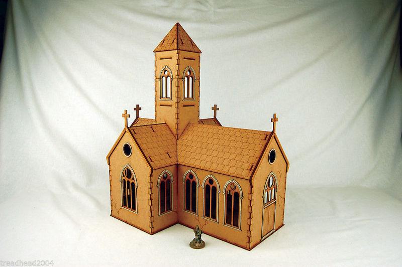 WW2 EUROPE VILLAGE CHURCH 28mm Laser cut MDF Building N024