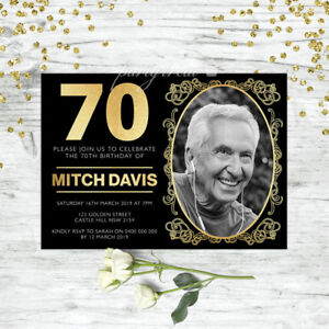 70TH-BIRTHDAY-INVITATIONS-BLACK-amp-GOLD-PERSONALISED-PARTY-SUPPLIES-PHOTO-INVITE