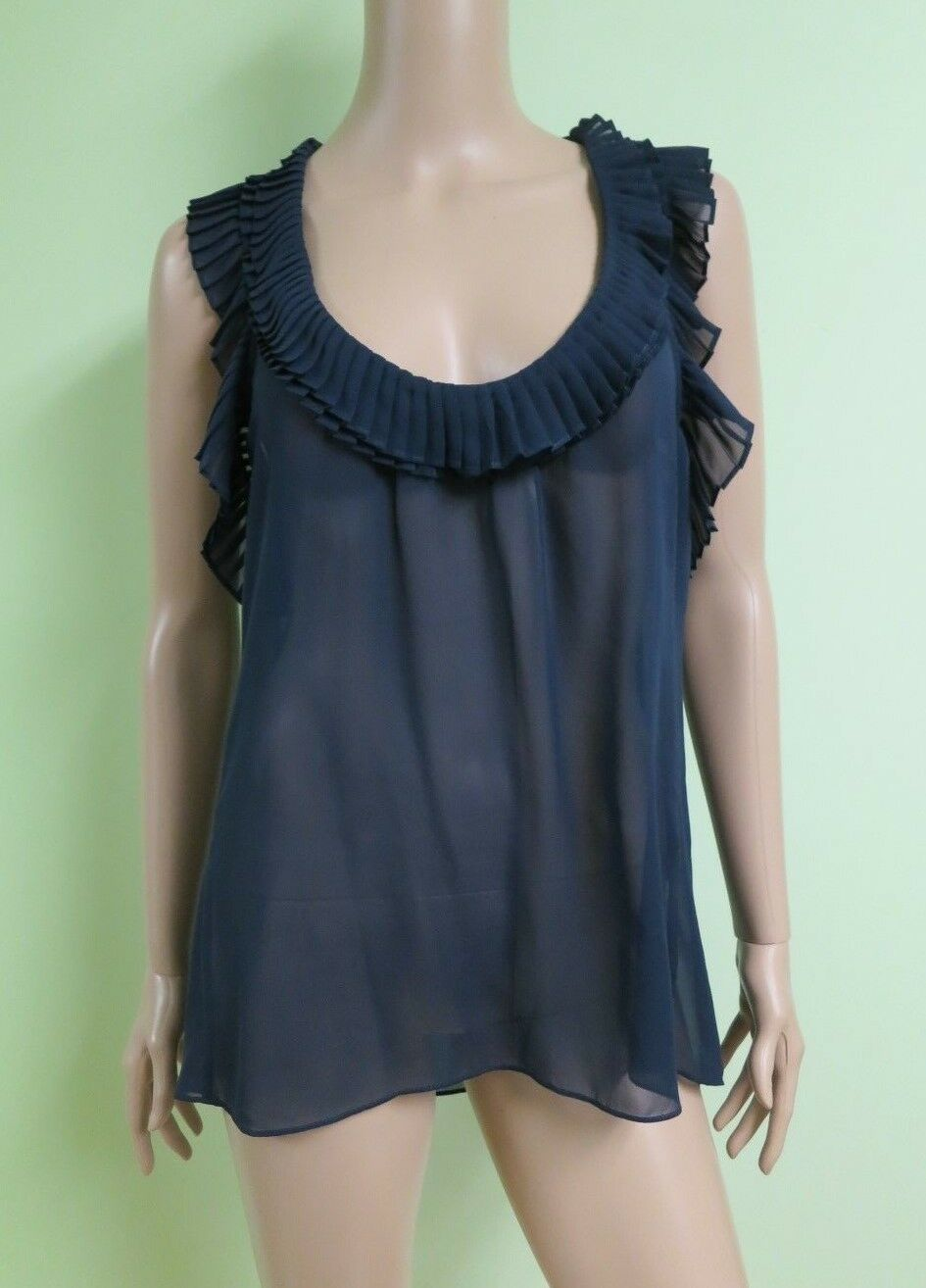 BCBG NWT Navy bluee Sleeveless Pleated Ruffle 100%Silk Shirt Top New M SIL1G340