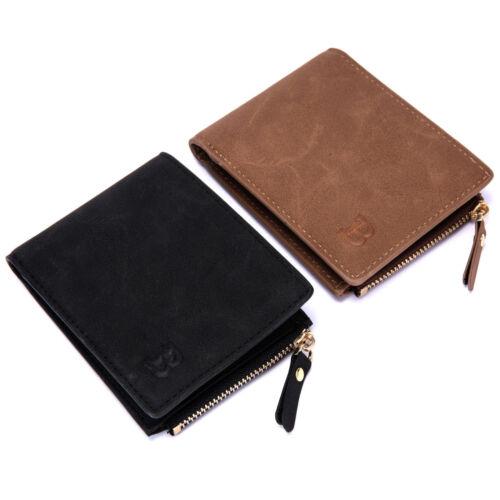 Leather Men/'s Bifold Money Clip Purse Pocket Wallet Zipper Photo Coin Short Bag