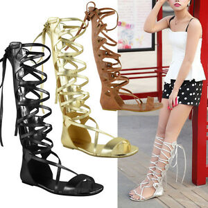 62f4da1bc77a Image is loading LADIES-WOMENS-KNEE-HIGH-GLADIATOR-SANDALS-FLAT-LACE-