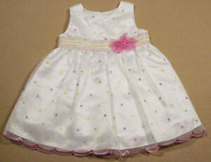 Baby girls 18m dress white special occasion polka dots portrait easter