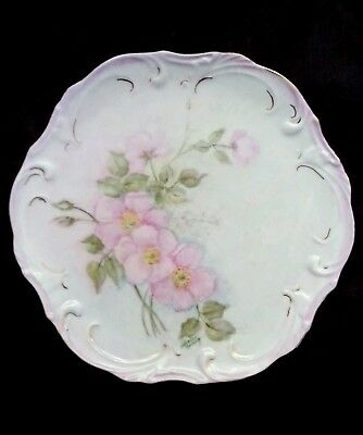 Antique hand painted porcelain dish early artist signed, 8 inches