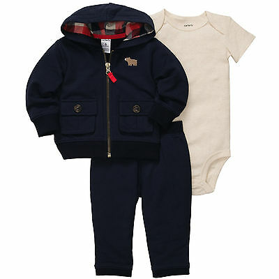 Carters 12 18 24 Months Bear French Terry Cardigan Pants Set Baby Boy Clothes