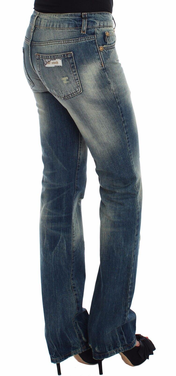 Nuova Nuova Nuova con Etichetta Just Cavalli Pantaloni Jeans Cotone Blu Vita Bassa Flair Leg 024e4a