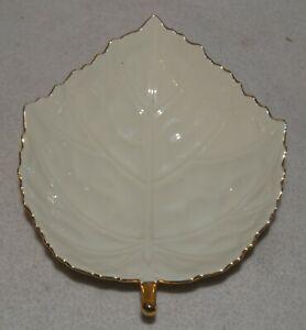 Vintage Lenox Ivory Leaf Trinket Candy Dish Gold Trim Made in Japan