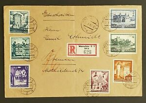 1942 Warsaw Poland to Bremen Germany Registered General Government Stamps Cover