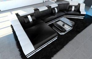 Leder Wohnlandschaft Design Sofa Turino C Led Beleuchtung Ottomane