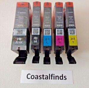 Canon PGI 250 CLI 251 Ink Cartridge CMYK Set of 5 NEW OEM Genuine Sealed Setup