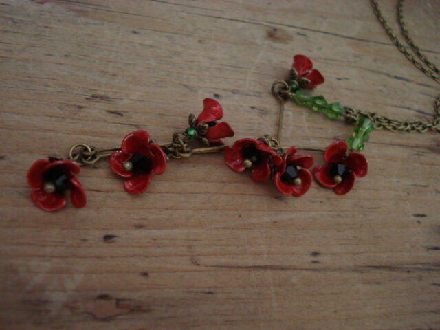 art deco style dainty poppy ,vintage enamel fairy flower necklace
