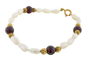 14K-Yellow-Gold-Hessonite-Garnet-Beads-and-South-Sea-Pearls-Jewelry-Bracelet-7-034