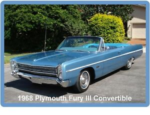 Image Is Loading 1968 Plymouth Fury III Convertible Auto Car Refrigerator
