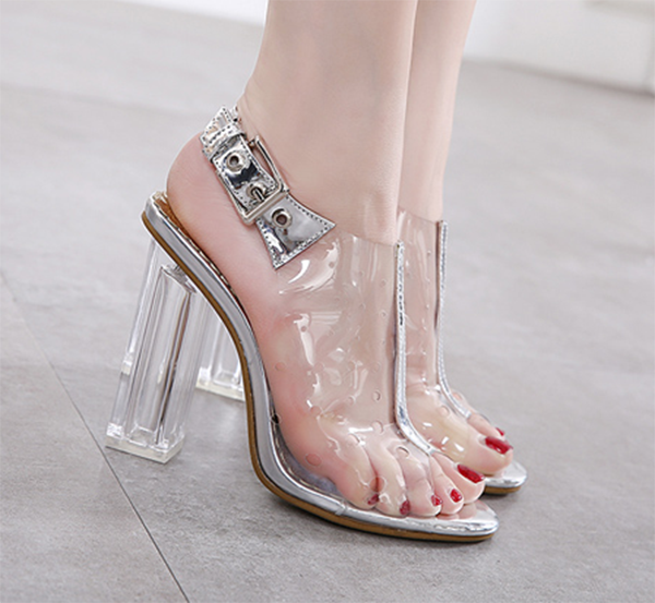 Womens Clear Crystal Crystal Crystal Block Heels Open Toe Sandals Transparent Buckle Party shoes 5fb219