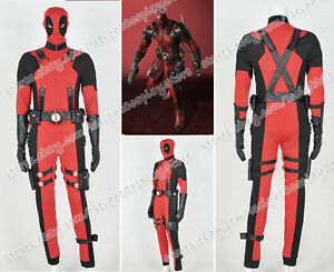 Deadpool Cosplay Wade Costume Men Cotton Red Jumpsuit Whole Set ...