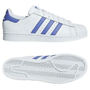 Adidas-Originals-Hommes-Superstar-Baskets-Blanc-Lilas-CORNICULE-Baskets-Chaussures-NEUF