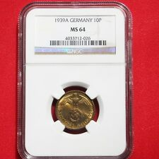 NGC MS-64 NAZI SWASTIKA 1939-A 10 ReichsPfennig COIN-Germany 3rd-REICH MINT!!