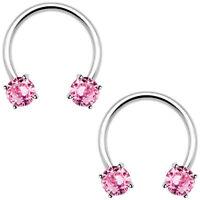 Pink Nipple Septum Ring Circular Barbell Cbr Pair 1/2(13mm) 316l Steel 14guge