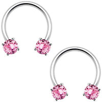 Pink Nipple Septum Ring Circular Barbell Cbr Pair 1/2(13mm) 316l Steel 14guge