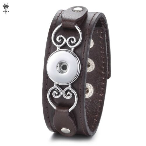 Ginger Snap Jewelry Genuine Leather Bracelet Fit 18-20mm Snap Button Charms