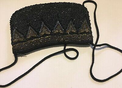 Audace Nero Vintage Con Perline Eveing Bag 1960s-mostra Il Titolo Originale