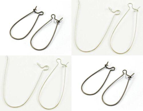 50 Brass Kidney Hoop Earrings LFCFNF Kidney Ear Wires Ear Loops 14x33mm