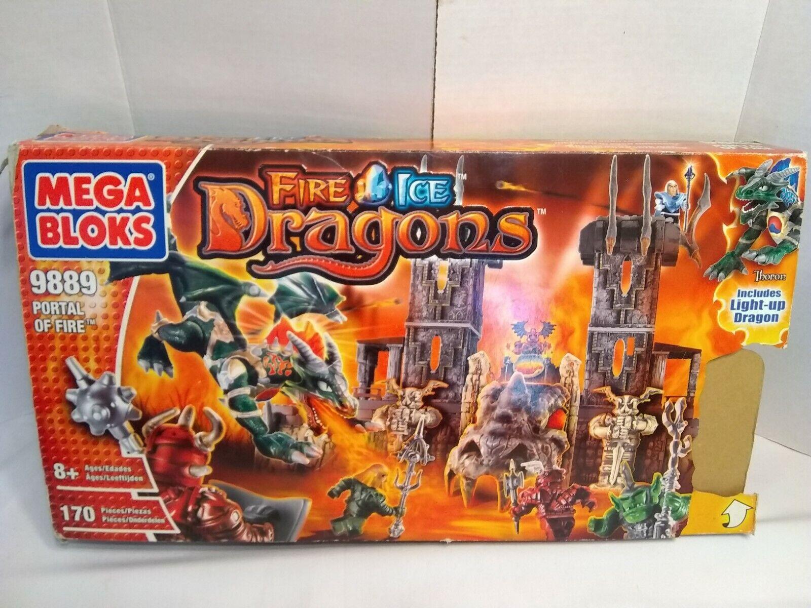 Mega Bloks 9889 Fire & Ice Dragones Portal de fuego Jugarset premios ganador NBC TV
