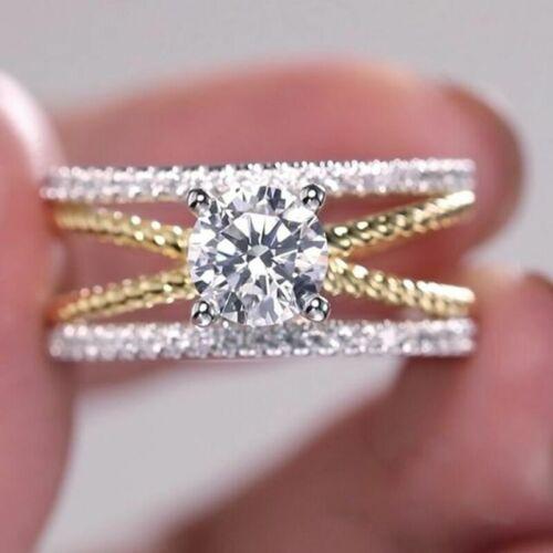 Deux Tons Argent 925 anneaux femme fashion blanc saphir bague de mariage Taille 6-10