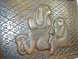 Herzhaft Drei Affen Fein Geschnitzte Holzschatulle Dose Schatulle Japan Meiji Online Rabatt
