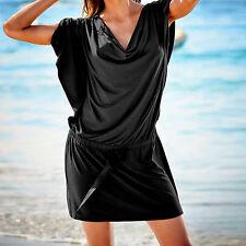 MARKE! Strand Longshirt Mini Kleid Wasserfall Gr.38/40 SCHWARZ Tunika
