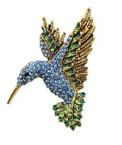 Brooch-Vintage-Blue-Hummingbird-Bird-Rhinestone-Pin-on-Brooch-Mothers-Day-Gift