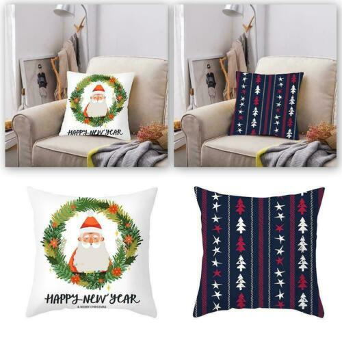 Christmas Xmas Elk Cushion Cover Throw Pillow Case Festival Claus DIY X5T0