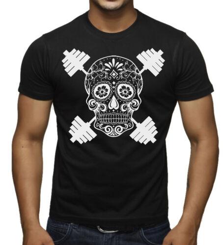 New Men/'s Sugar Skull Dumbbell T Shirt Muscle Beast Bodybuilding Gym Workout Tee