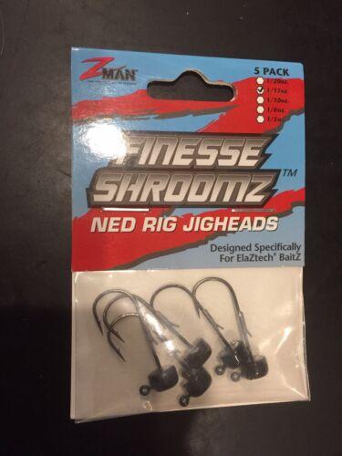 Z-Man Finesse Shroomz Ned Rig Jig Head Black 1//15oz