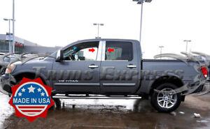For 2004-2015 Nissan Titan Crew Cab Stainless Steel Chrome Window Pillar Post
