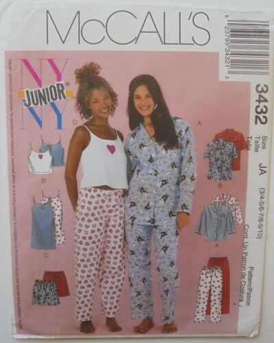McCalls 3432 Juniors Pajamas Camisoles Nightgown Pants Sewing Pattern 3//4-9//10