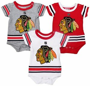 ea00bde17 Chicago Blackhawks Baby   Infant Hockey Jersey Style 3 Piece Creeper ...