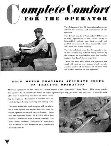 CaTeRPiLLaR Diesel D-2 TRACTOR 1938 ad reprint