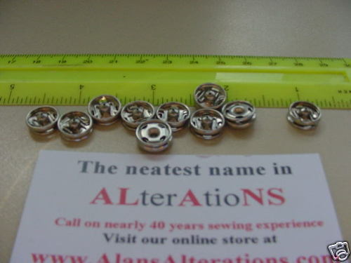 10 SETS RARE UK NICKLE DRESS 10mm SNAP  FASTENERS