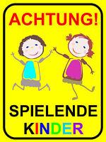 Schild achtung Spielende Kinder, Warnhinweis, Langsam Fahren, 20 X 30cm Art 65