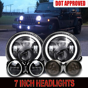 "For Jeep Wrangler JK 07-17 7/"" LED DRL Headlight Halo Fog Light Signal Turn"