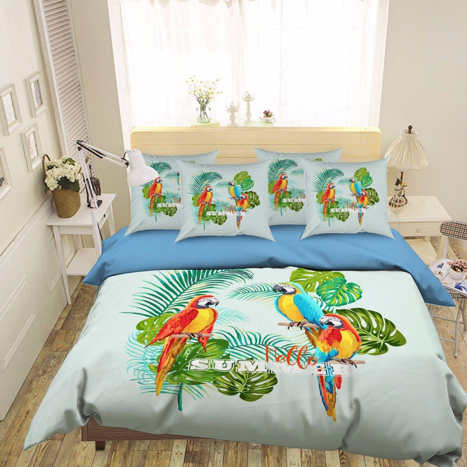 3D Summer Plant Parred 521 Bed Pillowcases Quilt Duvet Cover Set Single Queen CA