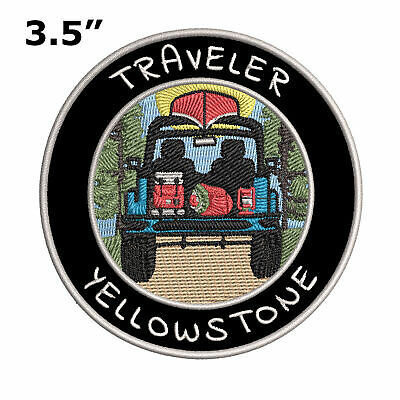 """Sew-On Applique Yellowstone National Park Wyoming Embroidered 3.5/"""" Patch Iron"""