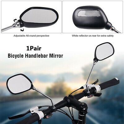 2Pc Handlebar Rear View Mirror For Bicycle Mobility Scooter Mountain Bike Black