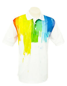 Men-039-s-White-Short-Sleeve-Golf-Polo-034-Paint-Strokes-034